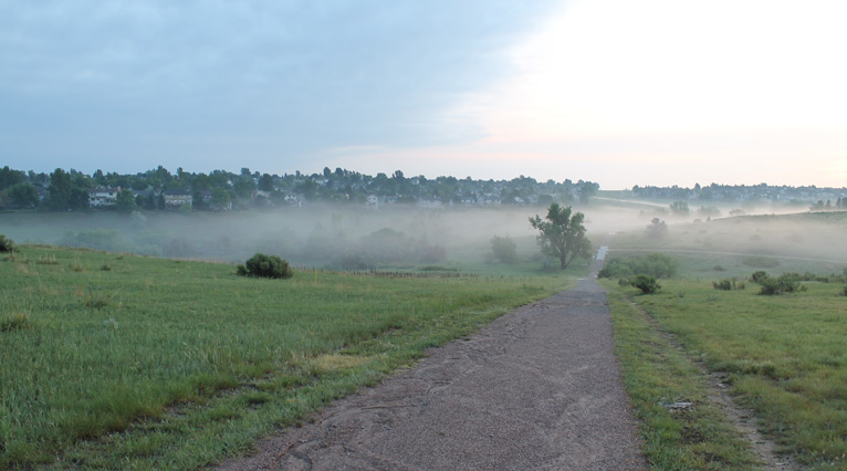 Morning Mist, HR Open Space - After a nighttime hail and rain
