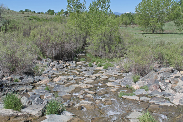 Rock Waterfall at low Flow - Highlands Ranch, Northridge Park