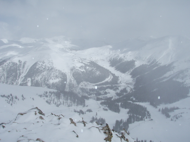 View of Loveland Pass from the top of North Pole.