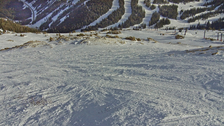 Looking north down Sunburst Bowl at Chair Four and Chair One terrain in the background.
