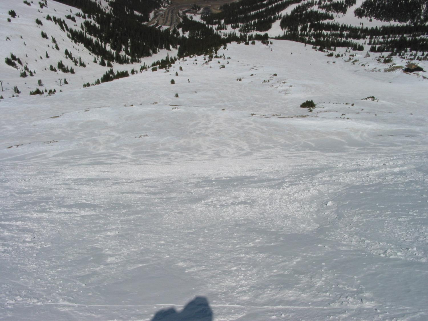 Looking down at Firebowl and the lower portions of Lift 9 from Jelly Roll.  Our Bowl is skier's left of Jelly Bowl and a great choice on a powder day.