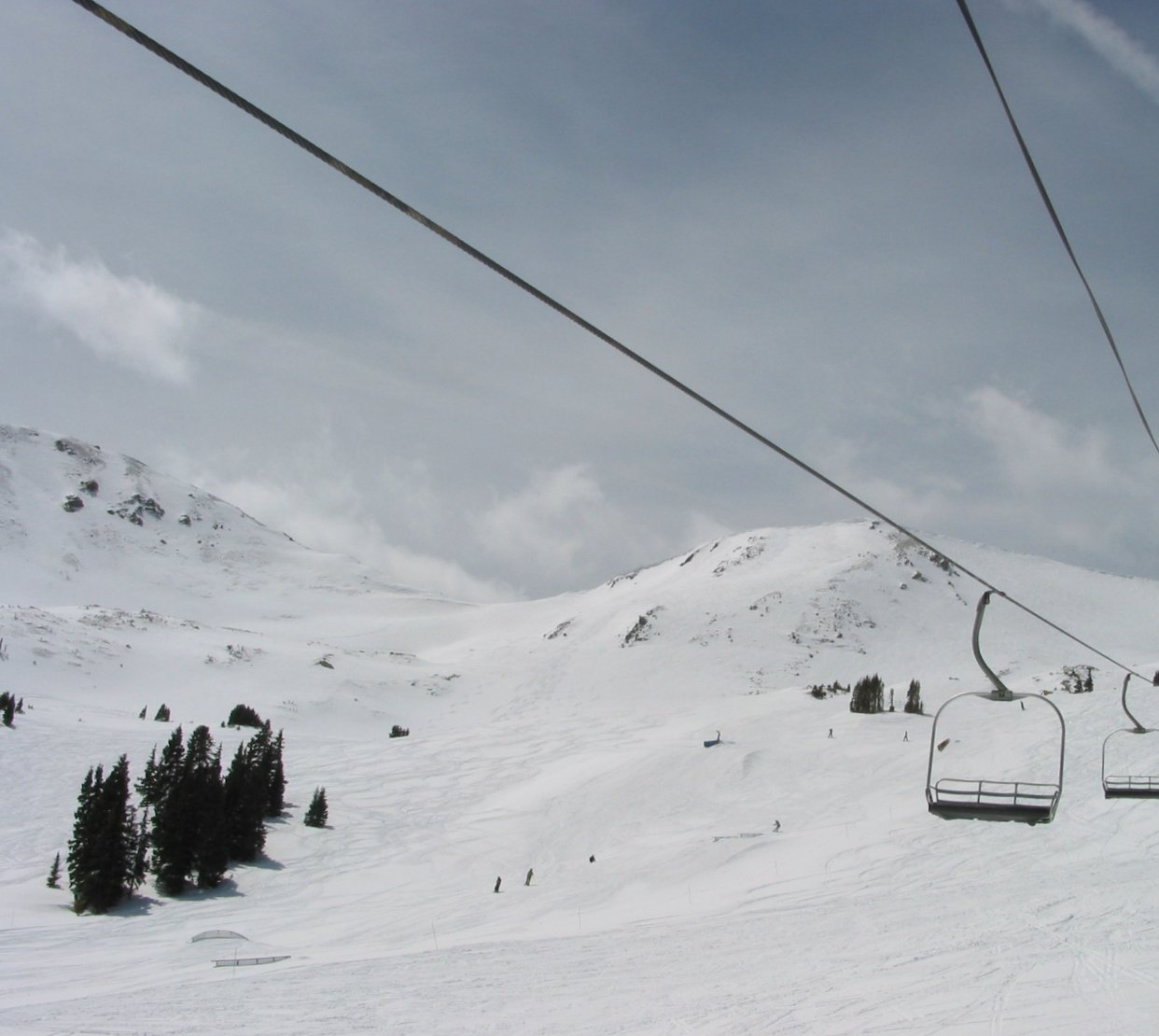 Looking up at the Wild Child ski run at Loveland Basin from Lift Two