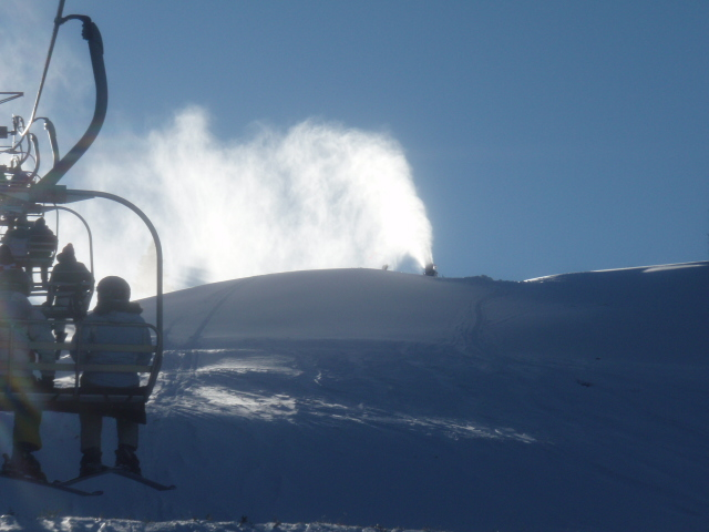 Snowmaking under Chairlift 2 on Firecut.