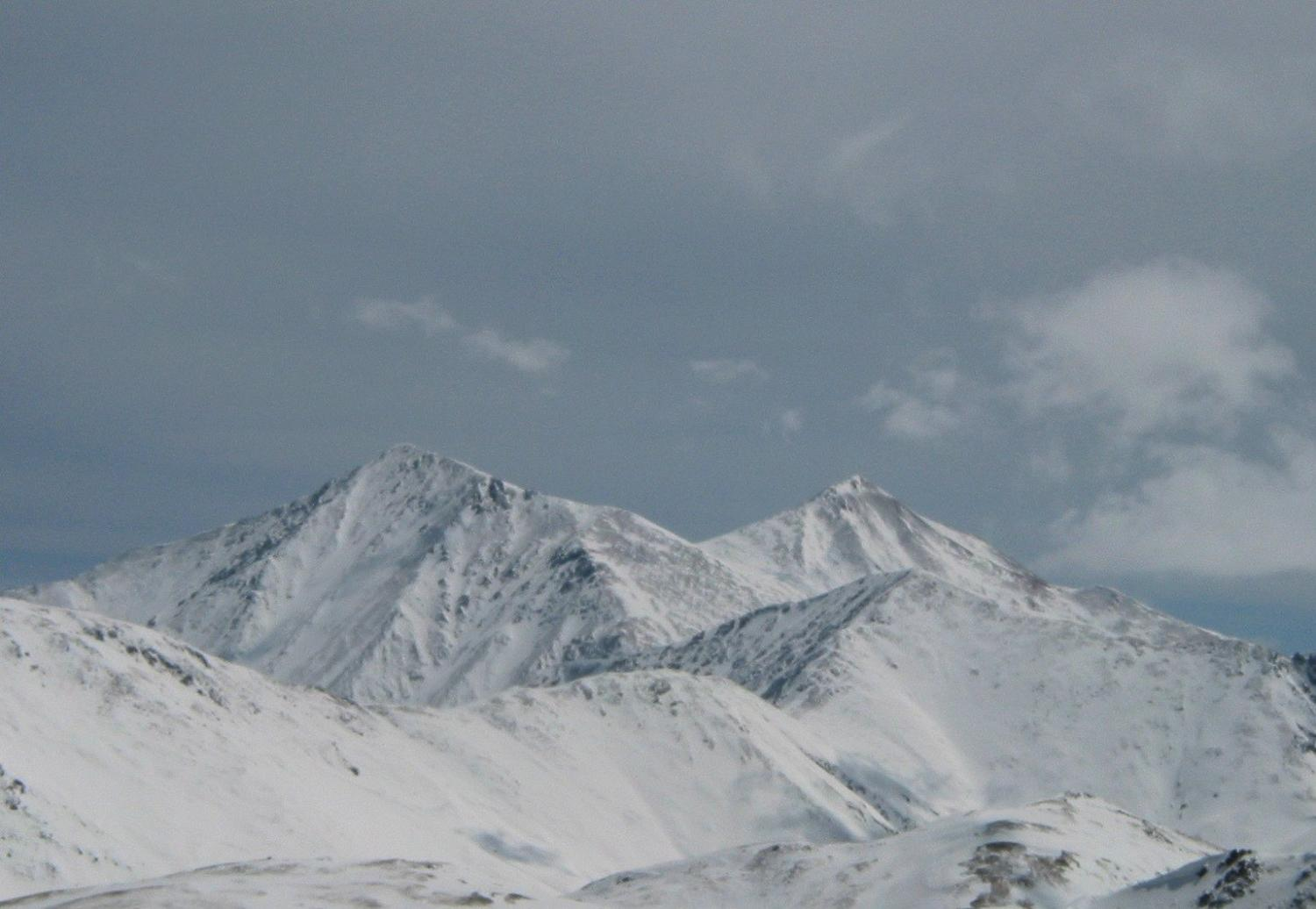 Grays and Torreys as viewed from Chairlift Number 9 in April 2009