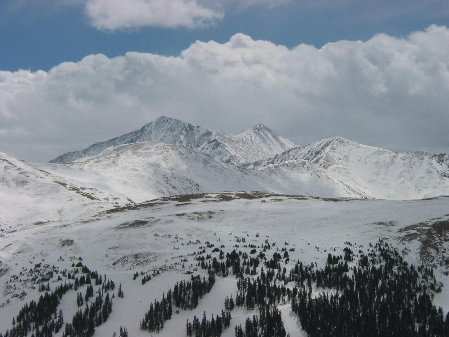 Grays and Torreys with Clouds on Income Tax Day, 2009.  Upper Lift One runs can be seen in the foreground.