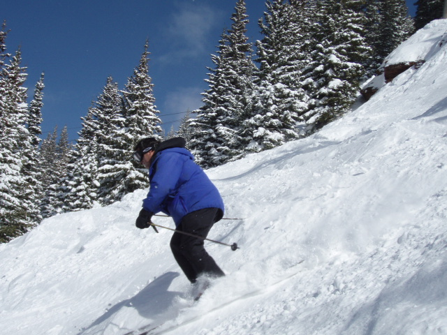 Karl Kelman skis Powerline Glade at Vail
